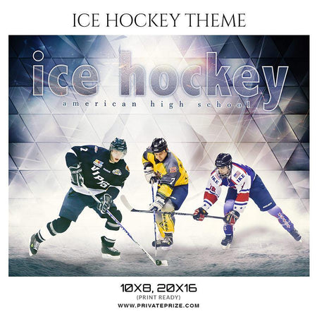 American High School Ice Hockey Themed Sports Photography Template - Photography Photoshop Template