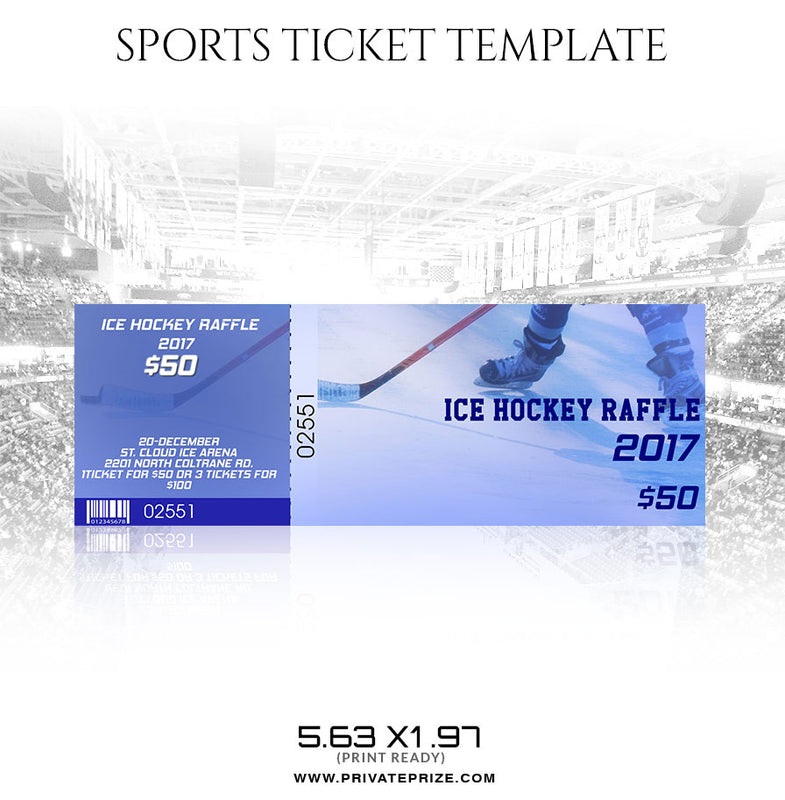 IceHockey Sports Ticket Template - Photography Photoshop Template