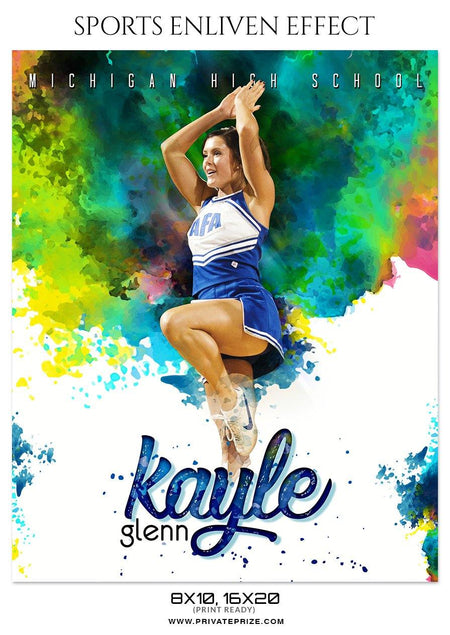 Kayle Glenn - Cheerleaders Sports Enliven Effect Photography Template - Photography Photoshop Template