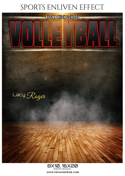 Lacy Roger - Volleyball Sports Enliven Effects Photography Template - Photography Photoshop Template
