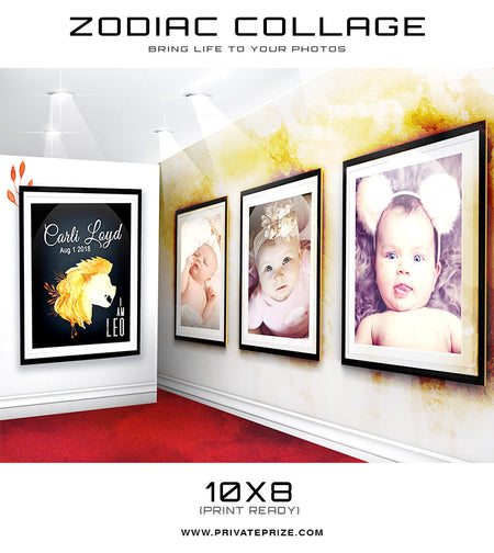 Zodiac - Leo 3D Wall Collage - Photography Photoshop Templates