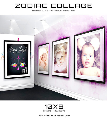 Zodiac - Libra 3D Wall Collage - Photography Photoshop Templates
