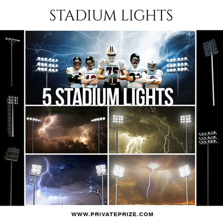 Stadium Lights and Cloud Overlay Set - Photography Photoshop Template