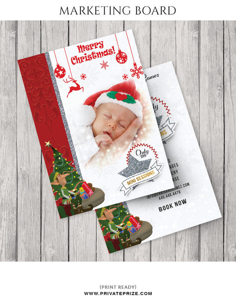 Christmas Newborn Mini Session Flyer Template for Photographers - Photography Photoshop Templates