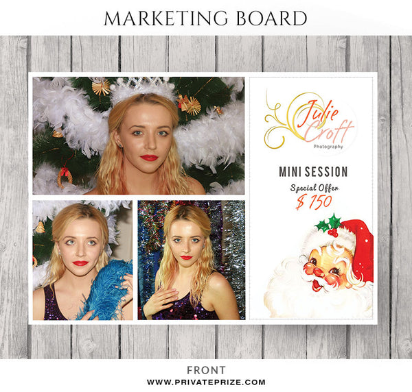 Julie Croft Christmas Mini Session Flyer Template for Photographers - Photography Photoshop Templates