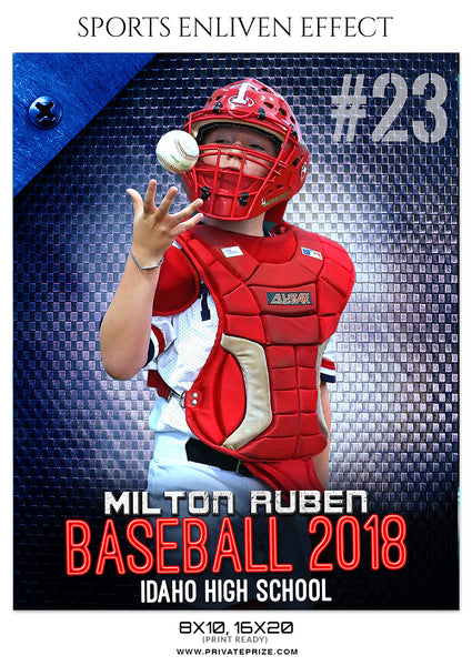 Miton Ruben Baseball Sports Enliven Effects Photoshop Template - Photography Photoshop Template