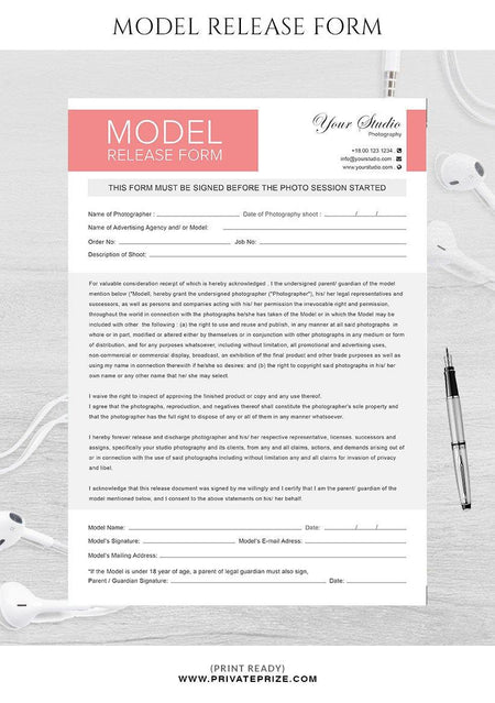 Model release form for photographers - Photography Photoshop Template