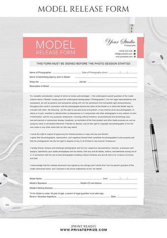 Model release form for photographers