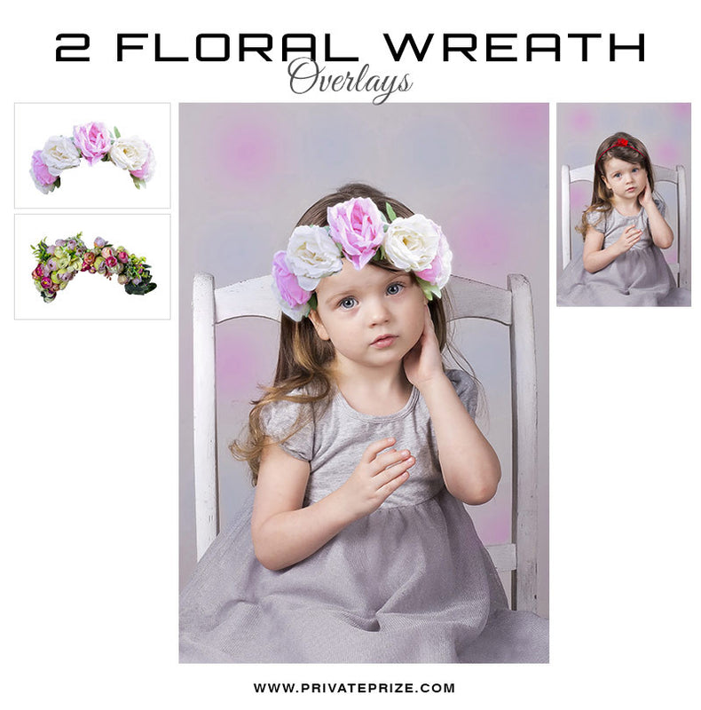 Floral Wreath Digital Overlay - Photography Photoshop Templates