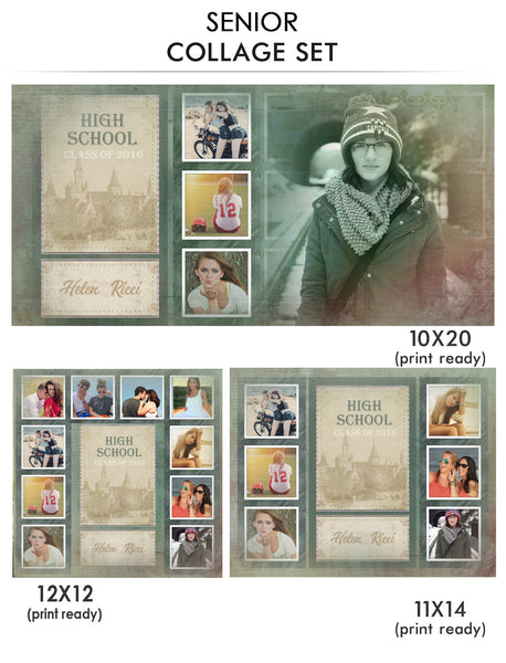 Helen - Senior Collage Photoshop Template - Photography Photoshop Templates