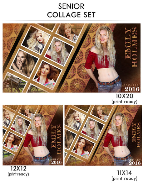 Emily - Senior Collage Photoshop Template - Photography Photoshop Templates