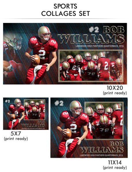 Bob- Sports Collage Photoshop Template - Photography Photoshop Templates