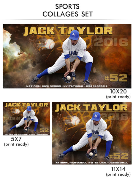 Taylor- Sports Collage Photoshop Template - Photography Photoshop Templates