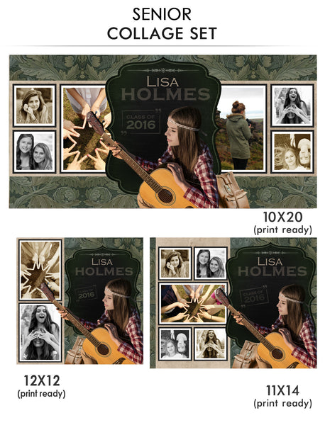 Lisa -Senior Collage Photoshop Template - Photography Photoshop Templates
