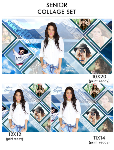 senior photo collage templates - mary senior collage photoshop template