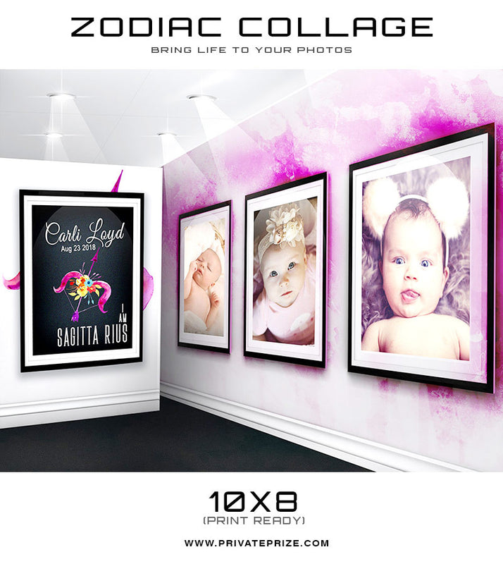 Zodiac - Sagittarius 3D Wall Collage - Photography Photoshop Templates
