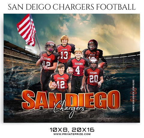 San Deigo Chargers - Football Themed Sports Photography Template