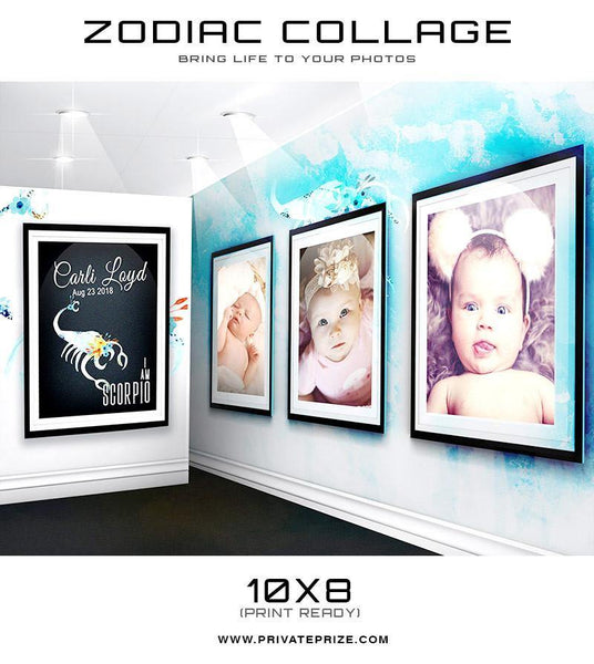 12 Zodiac Signs - 3D Wall Collage SET - Photography Photoshop Templates