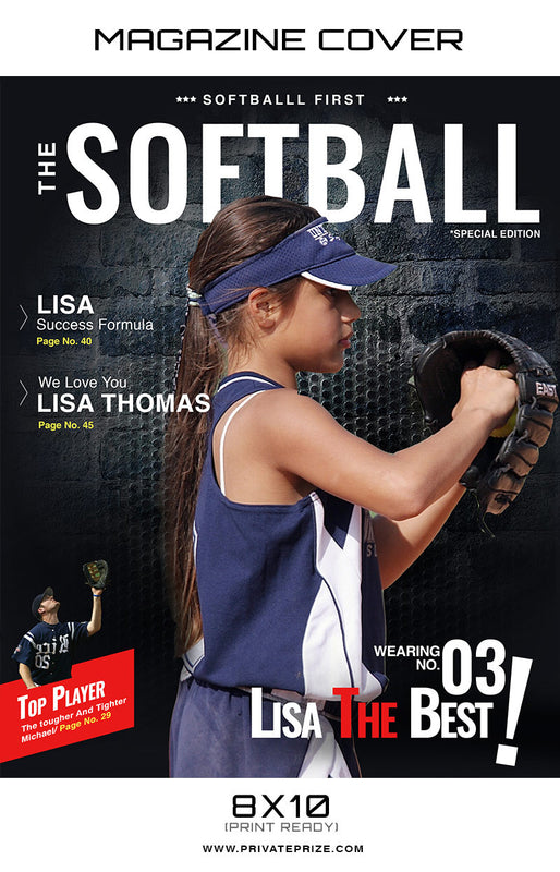 Softball - Sports Photography Magazine Cover - Photography Photoshop Template