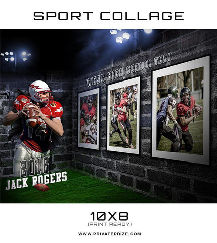 3D Wall Football - Sports Collage - Photography Photoshop Templates