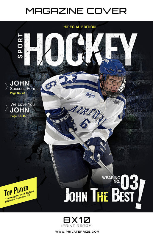 Hockey- Sports Photography Magazine Cover - Photography Photoshop Template