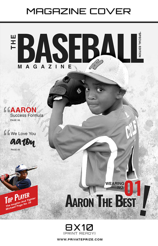 Baseball K- Sports Photography Magazine Cover - Photography Photoshop Templates