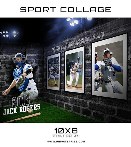 3D Wall Baseball - Sports Collage - Photography Photoshop Template