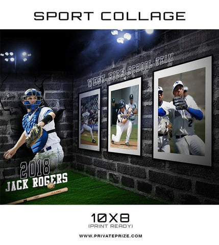 3D Wall Baseball - Sports Collage - Photography Photoshop Templates