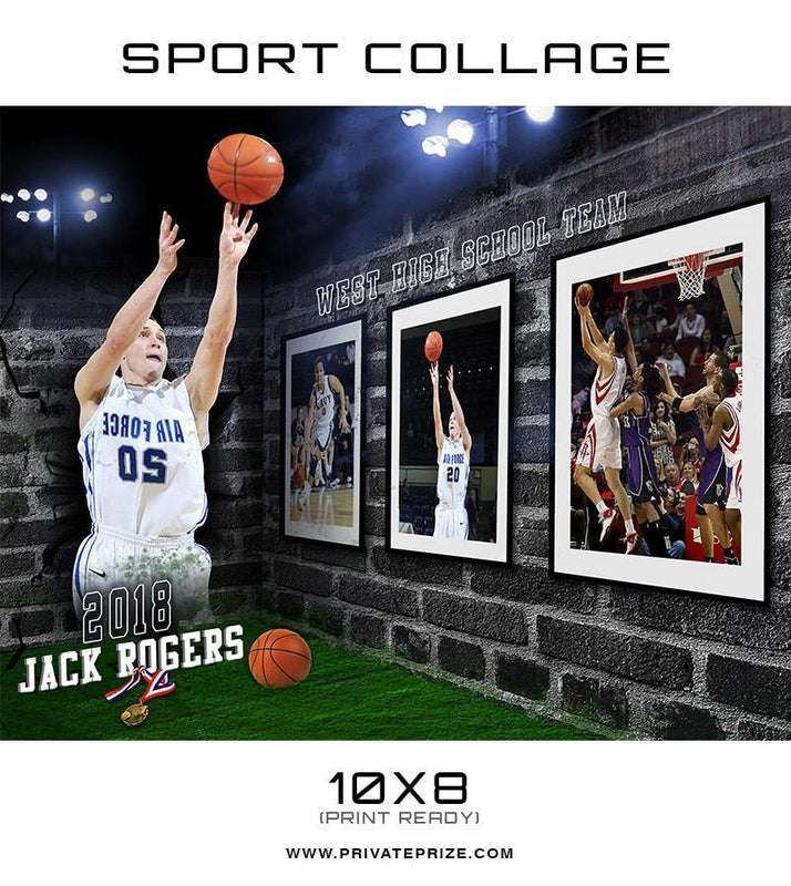3D Wall Basketball - Sports Collage - Photography Photoshop Templates