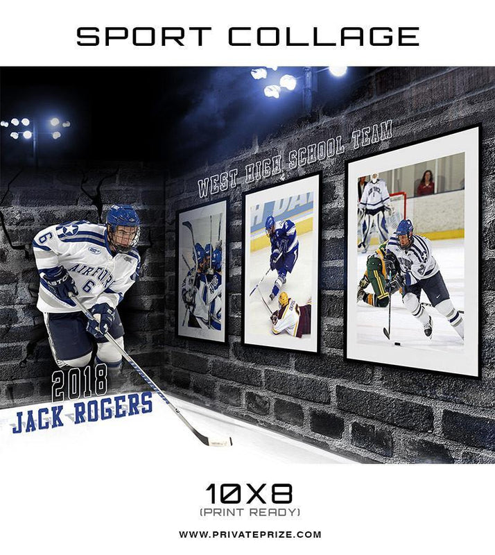 3D Wall Hockey - Sports Collage - Photography Photoshop Template