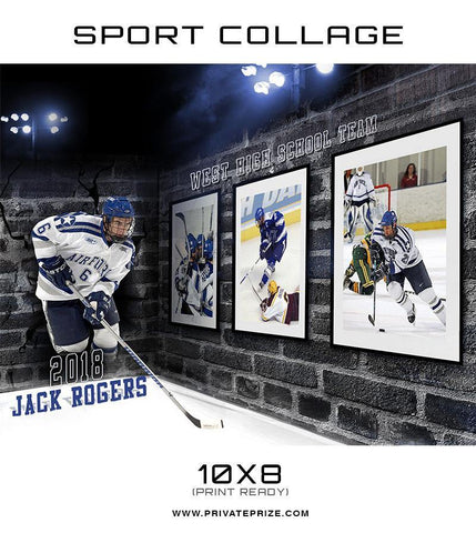 3D Wall Hockey - Sports Collage - Photography Photoshop Templates