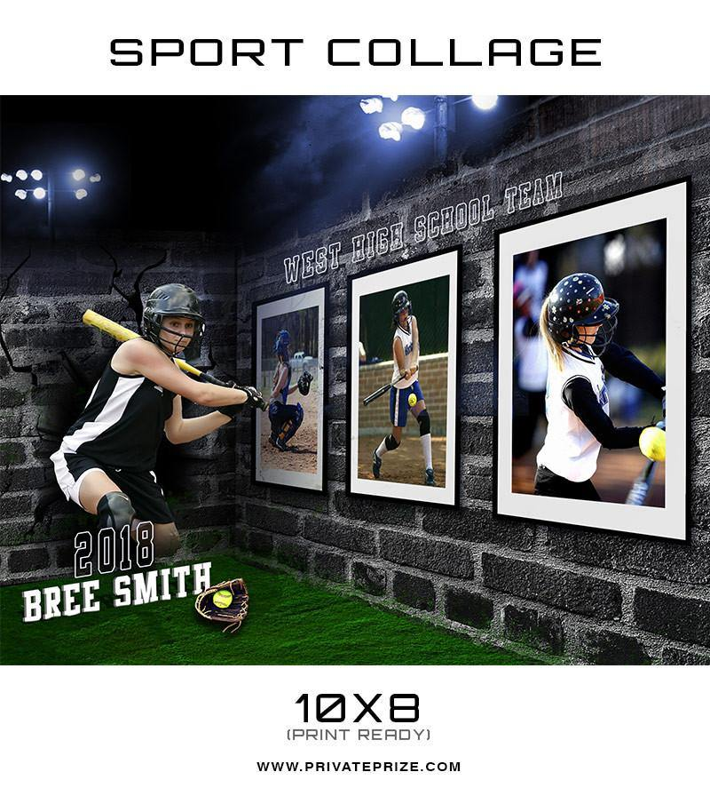 3D Wall Soft Ball - Sports Collage - Photography Photoshop Templates