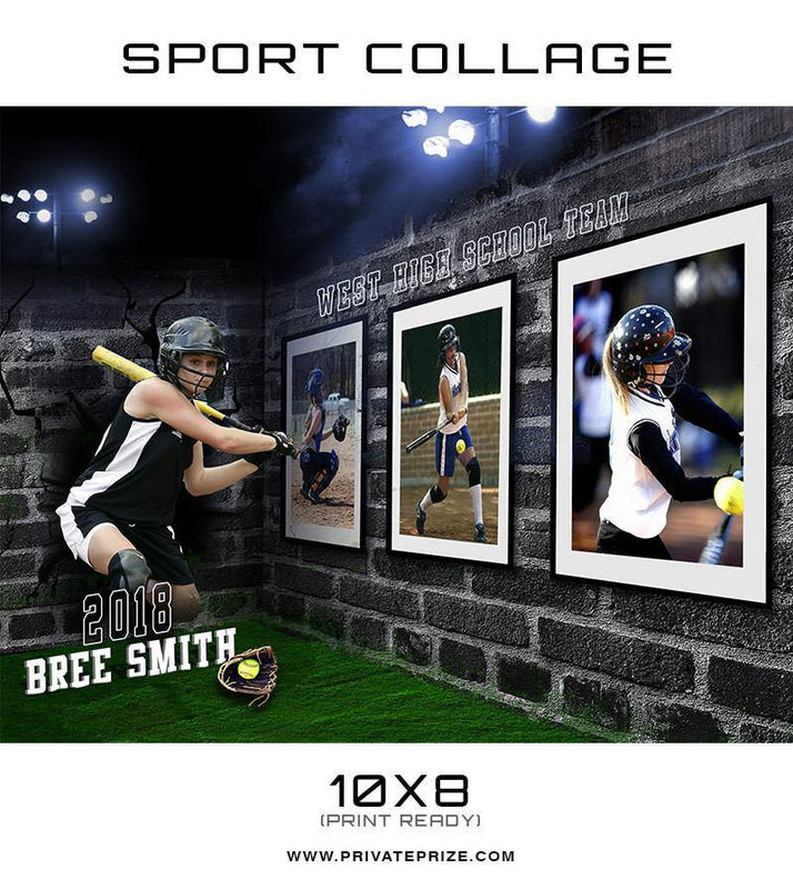 3D Wall Soft Ball - Sports Collage - Photography Photoshop Template