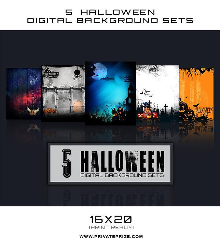 5 Halloween Digital Background Set 1 - Photography Photoshop Templates