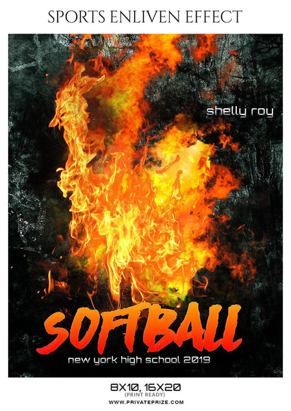 Shelly Roy - Softball Sports Enliven Effect Photography template