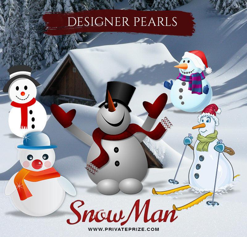 Snowmen Designer Pearls set - Photography Photoshop Template