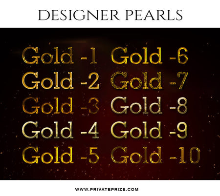 Gold Text Style Set -Designer Pearls set - Photography Photoshop Template