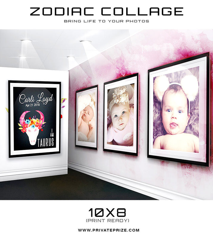Zodiac - Taurus 3D Wall Collage - Photography Photoshop Templates