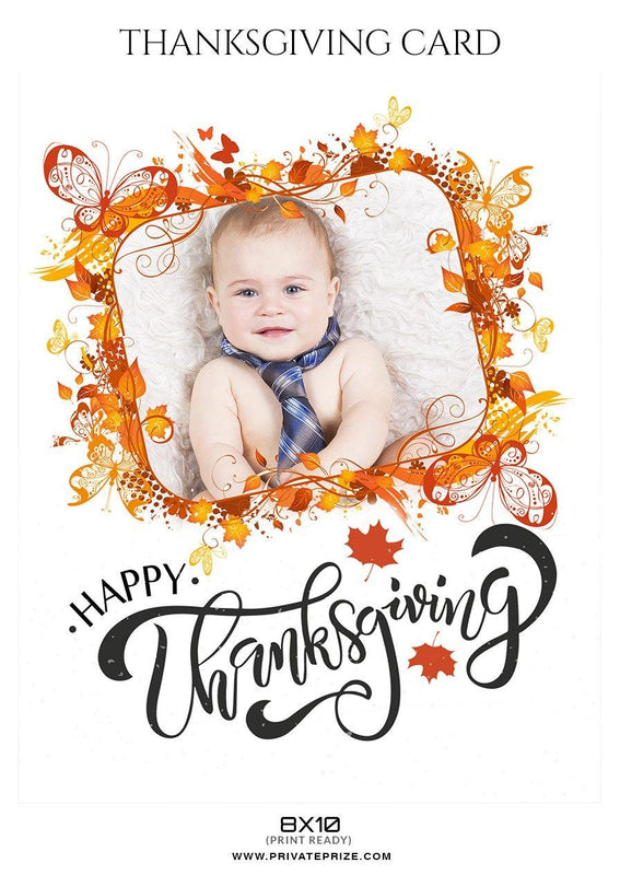 Happy Thanksgiving - Thanksgiving Digital Backdrops Templates - Photography Photoshop Template