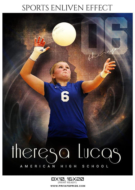 Theresa Lucas - Volleyball Sports Enliven Effects Photography Template - Photography Photoshop Template