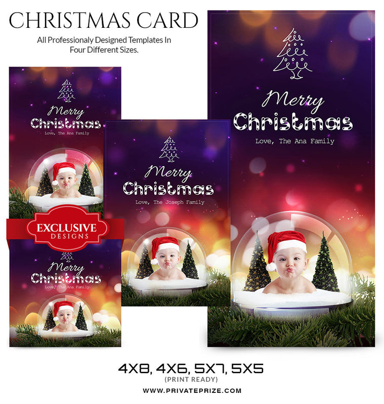 Christmas Card Love from the family - Photography Photoshop Templates