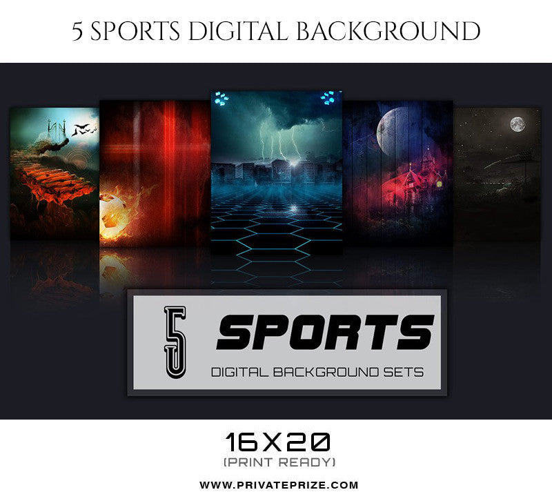 Morpheon-5 Sports Digital Background Set - Photography Photoshop Template