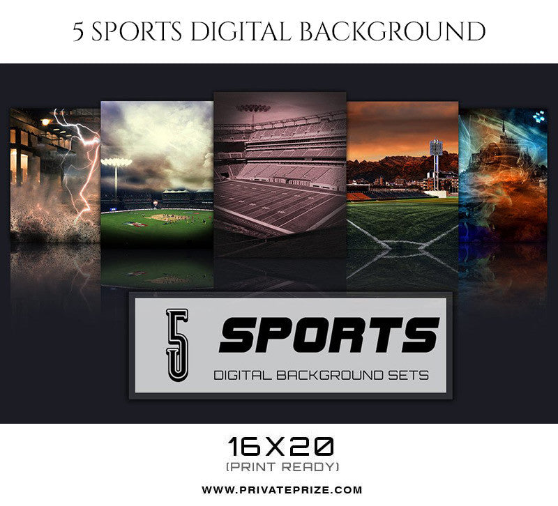 Mirage-5 Sports Digital Background Set - Photography Photoshop Template