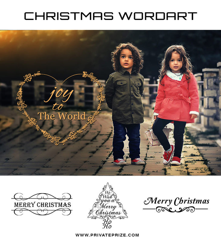 Joy to the World! Christmas  Wordart - Photography Photoshop Template