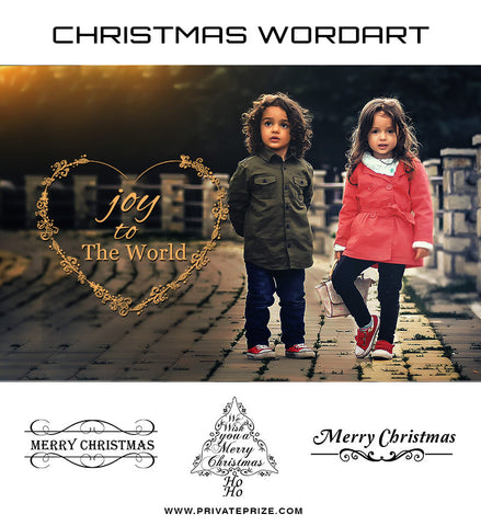 Joy to the World! Christmas  Wordart - Photography Photoshop Templates
