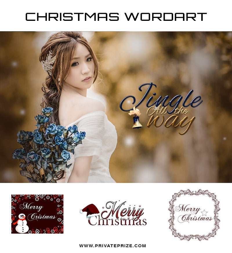 Jingle all the Way! Christmas  Wordart - Photography Photoshop Templates