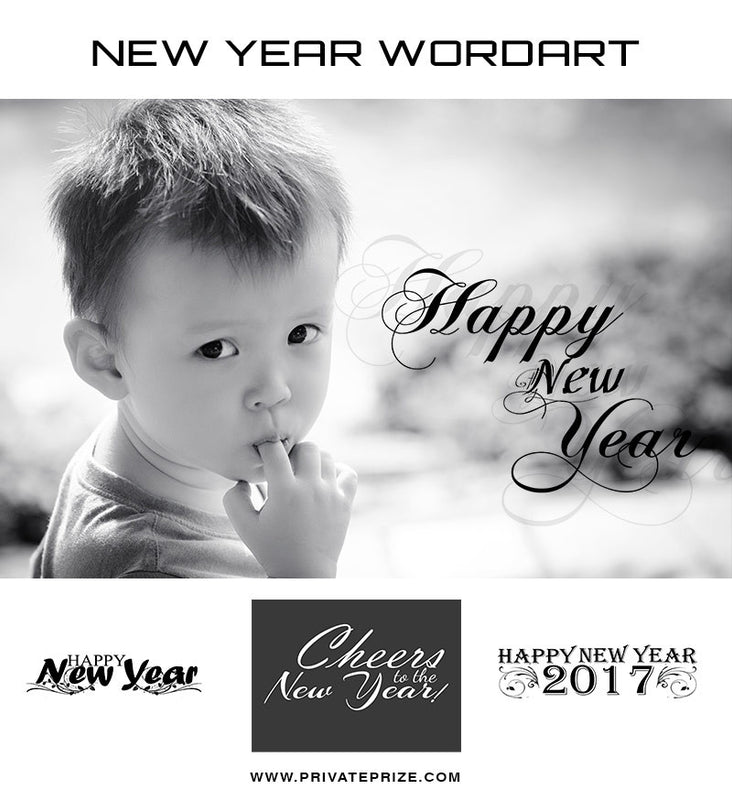 New Year Blessings-Word Art - Photography Photoshop Templates