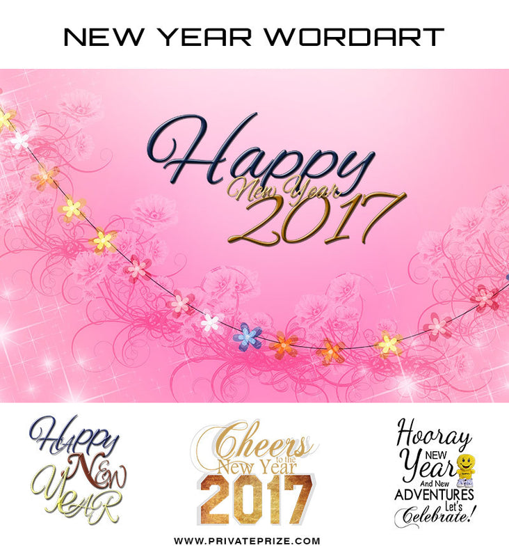 New Year Wishes-Word Art - Photography Photoshop Template