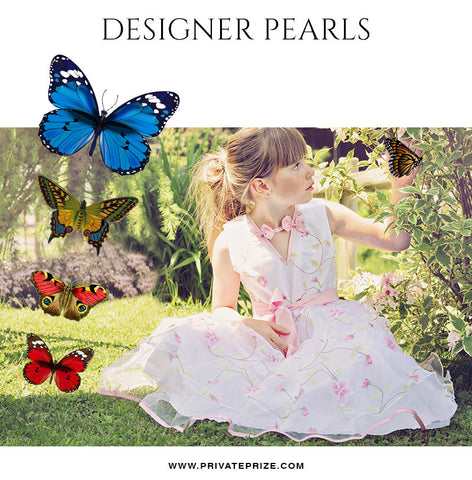 Butterflies - Designer Pearls - Photography Photoshop Template