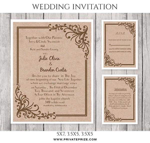Julie&Brandon Wedding Invitation Card - Photography Photoshop Templates